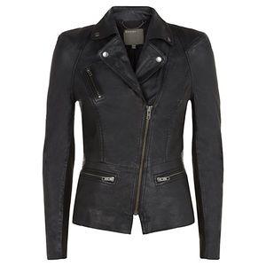 Muubaa Kajana Leather Biker Jacket Black Sz 2
